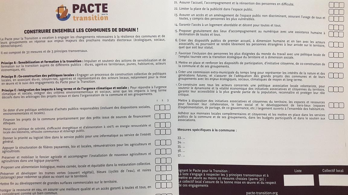 Cinq listes candidates aux élections municipales dans l'agglomération s'engagent en signant le Pacte pour la Transition écologique et solidaire
